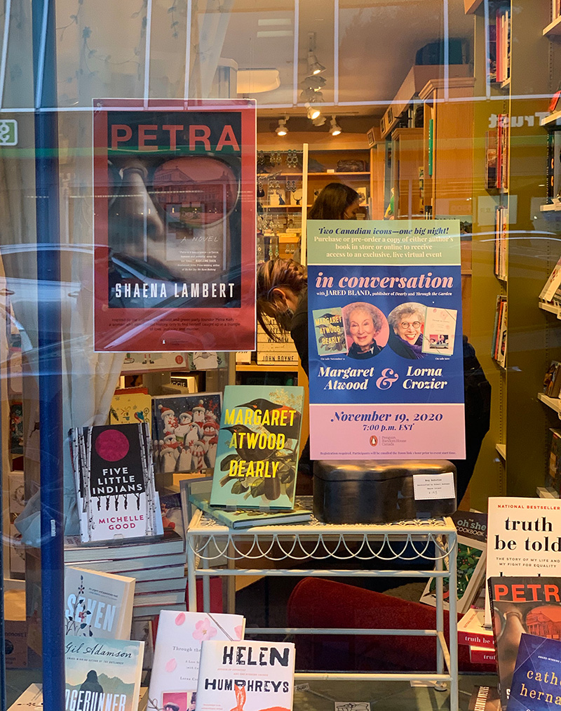 Image of Window display at 32 Books and Gallery, with Petra on display